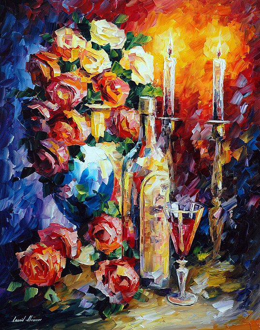 RED WINE 1 - Palette Knife Oil Painting On Canvas By Leonid Afremov Photo