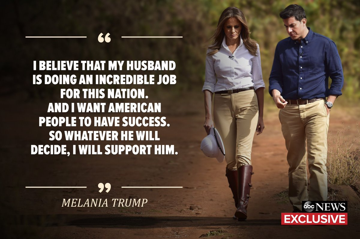 """When asked about a second term in the White House, : """"I believe that my husband is doing an incredible job for this Nation…so whatever he will decide, I will support him.""""   #MelaniaTrump https://t.co/FlKcUTJHrS"""