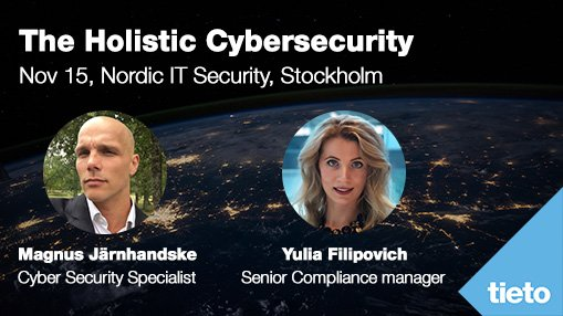 "How can you as an organization get the best method of handling today's rapidly changing security landscape? Meet Magnus and Yulia at   @nordicitsec Nov 15th. <a href=""https://t.co/JD3t5pOZVb"" target=""_blank"">bit.ly/2QHyiHf</a> <a href=""https://twitter.com/hashtag/NordicITSec?src=hash"" target=""_blank"">#NordicITSec</a> <a href=""https://twitter.com/hashtag/cybersecurity?src=hash"" target=""_blank"">#cybersecurity</a> https://t.co/poKGejjB6p"