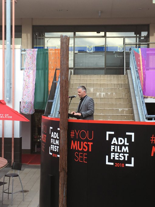Dale Roberts from @KOJOworld is speaking at the Australian Premiere of The Nightingale #ADLFF Photo