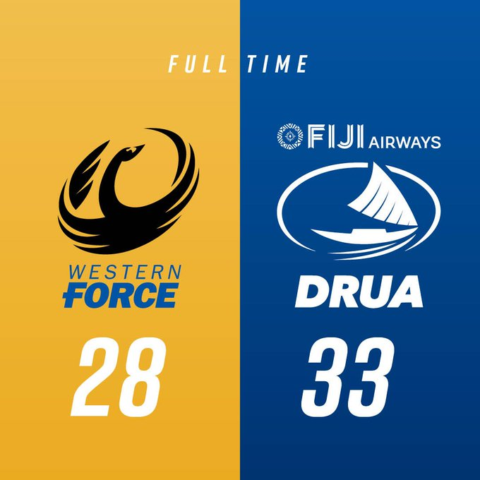 FULL TIME I The Western Force have fallen to the Fijian Drua by five points. Match Centre: 28 - 33 #FORvDRU #NRC18 @NRC_Live Photo