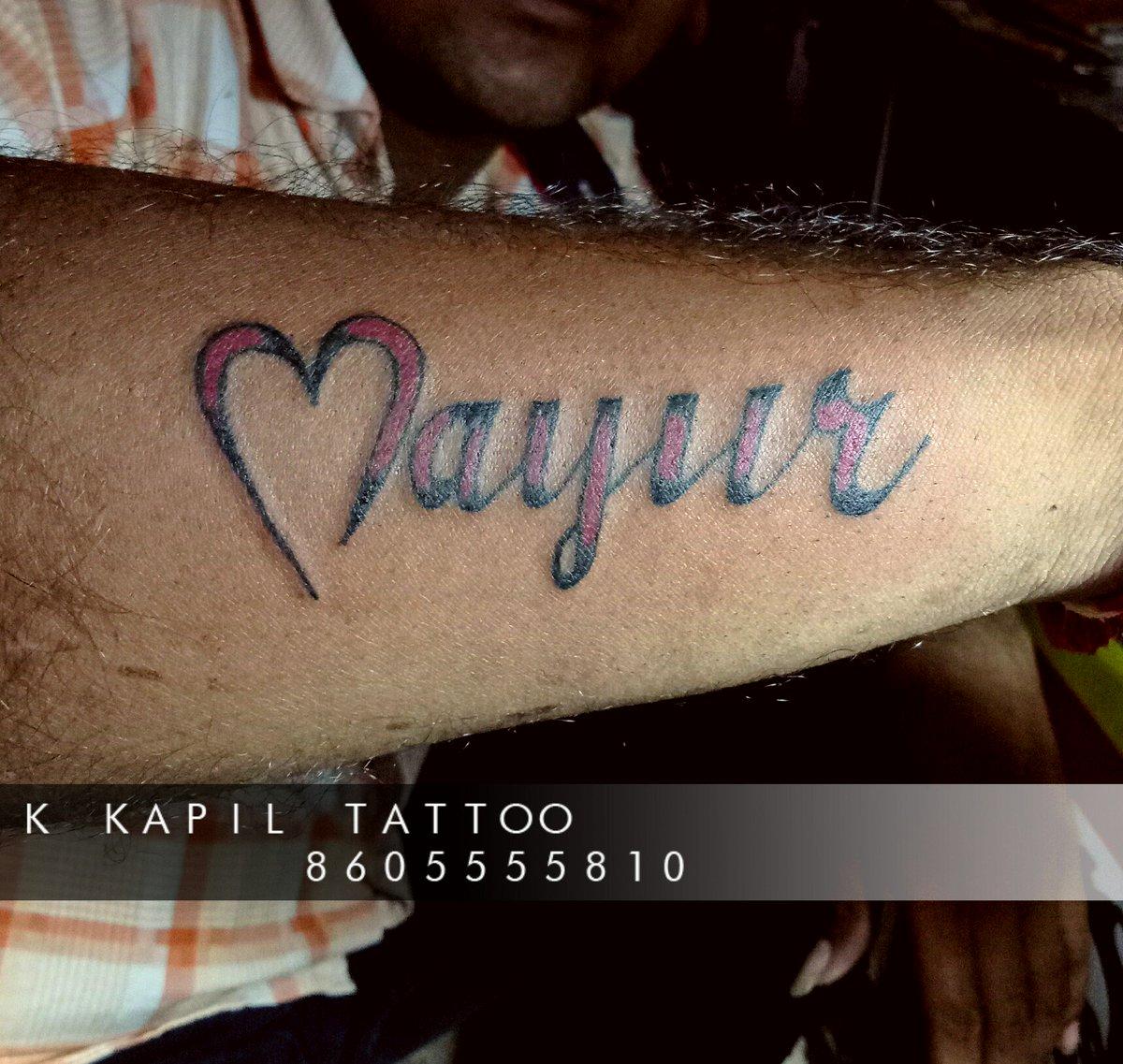 K Kapil Tattoo Auf Twitter Mayur Name Chopinscript With Heart
