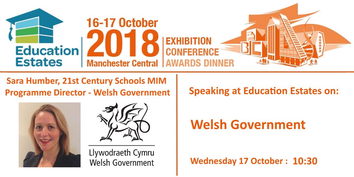 RT @EduEstates Sara Humber, 21st Century Schools MIM Programme Director @WelshGovernment is Speaking at @EduEstates on 'Welsh Government' 17 October at 10:30 https://t.co/RtPoJIGV4q #Education #FacMan #EduEst18