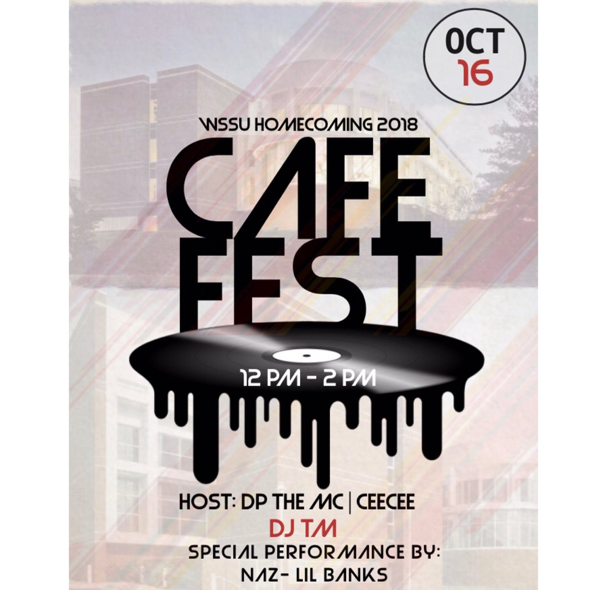 TUESDAY, OCTOBER 16TH  #CAFEFEST IS BACKKKKKKK  12PM-2PM  MUSIC BY @iAmDJTM  HOSTED BY @YourztrulyCee & @DPtheMC   THAT NIGHT @WSSURAMS ALUMNI ARE BRIDGING THE GAP  DIGGS GALLERY   8PM