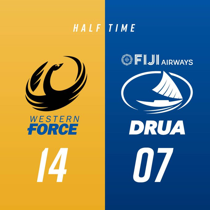 HALF TIME | 🐷The Western Force are in the lead with tries from Rod Davies and Rodney Iona! Match Centre: 14-07 #FORvDRU #NRC18 @NRC_Live Photo