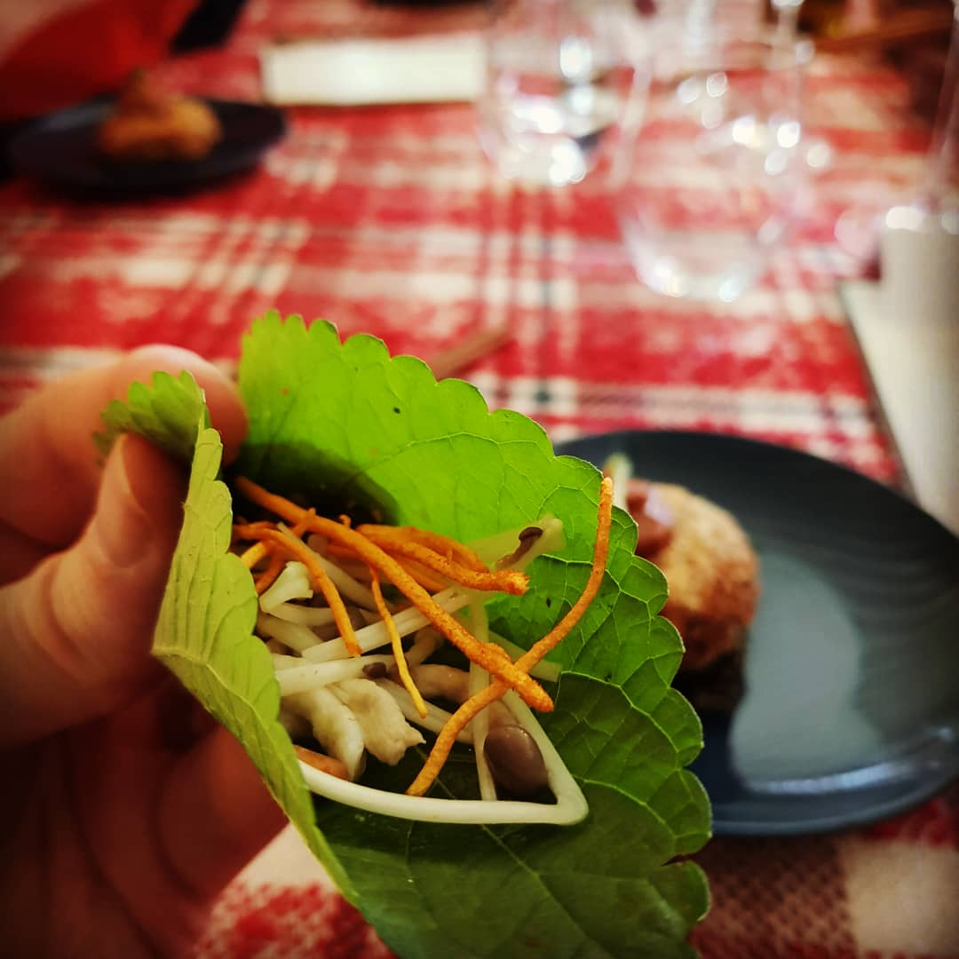 Kaennip, pickled mushrooms, pine nut crumble