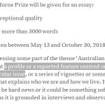 Can you write? Want to win the $15,000 Horne essay prize? Entries close Oct 30. Writing about @JulianAssange (an Australian) or WikiLeaks (an Australian organization) gets you in: https://t.co/sxgqXk5fs0