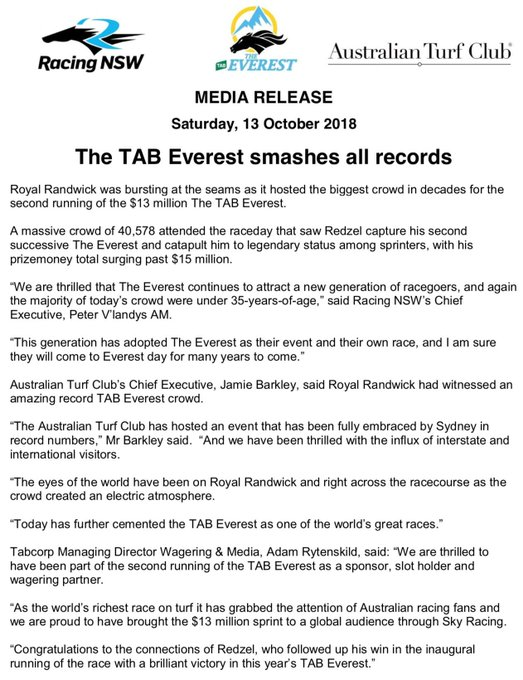 Despite the sometimes rainy conditions at The facts are TAB Everest day has again been hugely successful. Photo