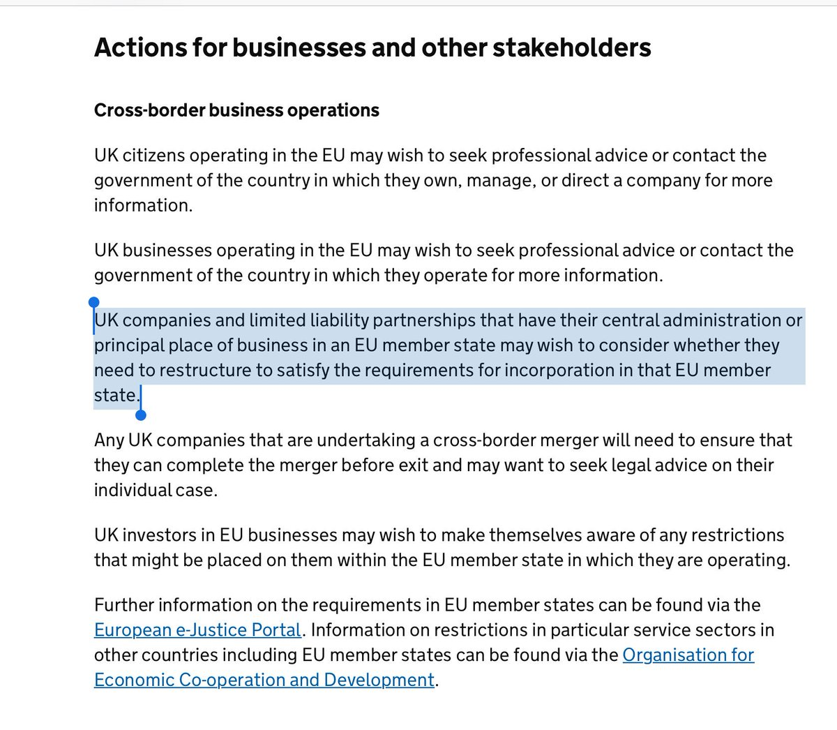 """No Deal notices...  UK Government advice suggests UK companies with large EU biz """"consider whether they need to restructure"""" - eg by moving domicile/inc - for No Deal Brexit.  First time in history a UK Govt effectively suggested shifting HQs out of UKhttps://t.co/p1WsX2BARV"""