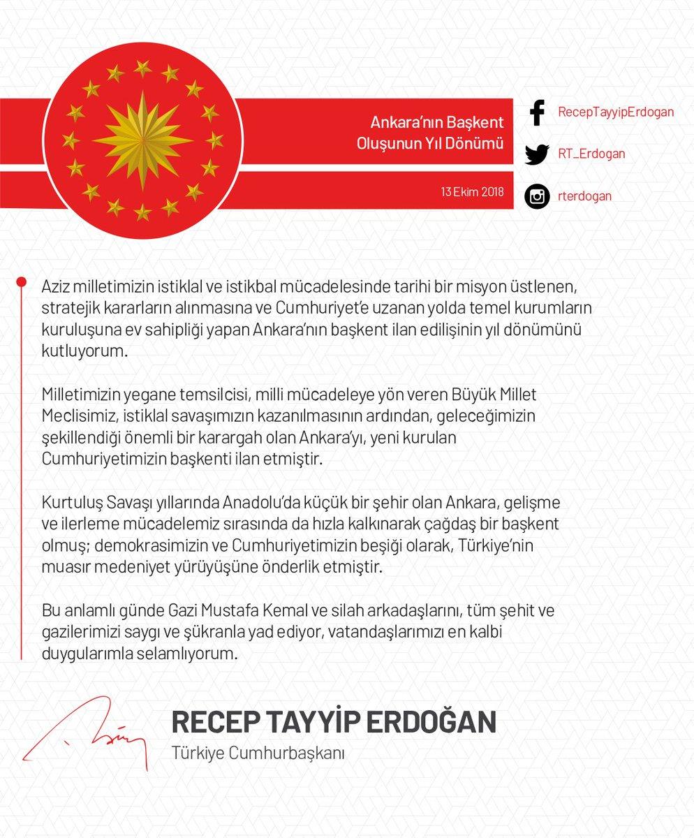 Ankara'nın başkent ilan edilişinin yıl dönümünü kutluyorum. #AnkaranınBaşkentOluşu