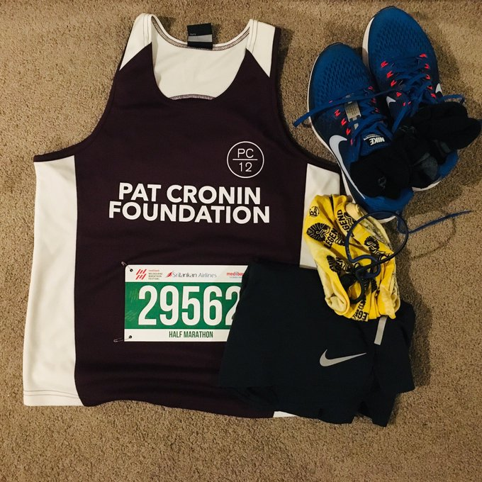 Running gear ready for tomorrow's Melbourne Marathon Festival @melbmara. Supporting the Pat Cronin Foundation @PatCroninPC12 #pc12 #bewise Photo