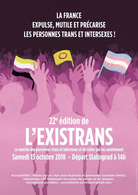 Aujourd'hui, SOS homophobie participera à l'#existrans. Vous nous rejoignez ? Photo