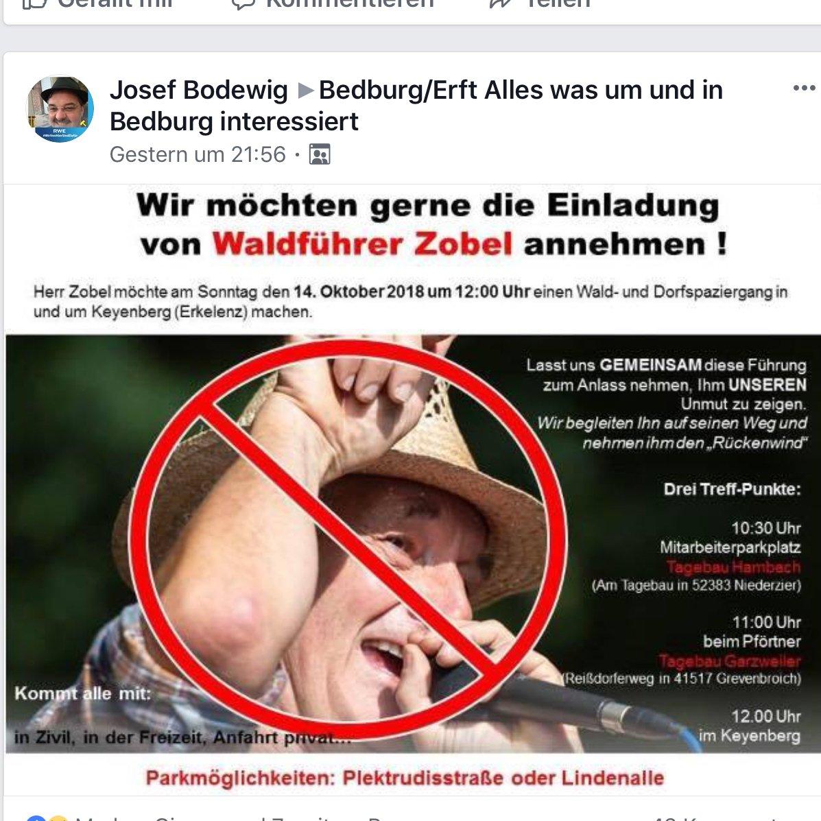 Am 5. Oktober wurden durch gewalttätige Übergriffe der #RWE Security im #HambacherWald mehrere Spaziergänger verletzt. Jetzt rufen RWE-Mitarbeiter dazu auf, den morgigen #waldspaziergang in Keyenberg zu stören. Zwar *in zivil*, aber Treffpunkt *Mitarbeiterparkplatz*