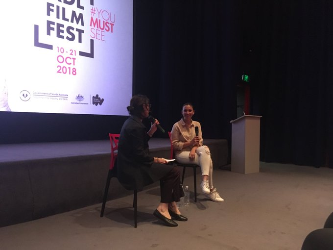 Thanks to @AUSTARABCOUNCIL #CAAR for bringing @WidadShafakoj to #ADLFF - a filmmaker whose work has changed laws and attitudes. Photo