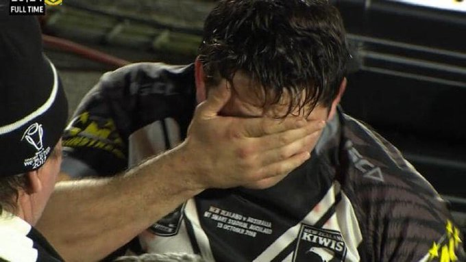 """""""Kiwis hooker Brandon Smith was reduced to tears following his starring role in the Kiwis' 26-24 victory over the Kangaroos."""" Can't ask for much more as a Kiwis fan. Great night for @NZRL_Kiwis. Photo"""