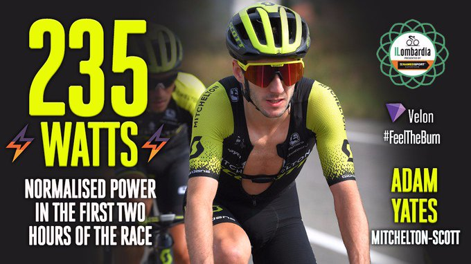 .@AdamYates7 (@MitcheltonSCOTT) is aiming to feature in the final shake-up in Como. The first two hours shows even a protected rider is being tested: Speed: | Power: 190W | Normalised power: 235W | Calories: 1498kcal ⚡️🇬🇧 #iLombardia #VelonLive Photo