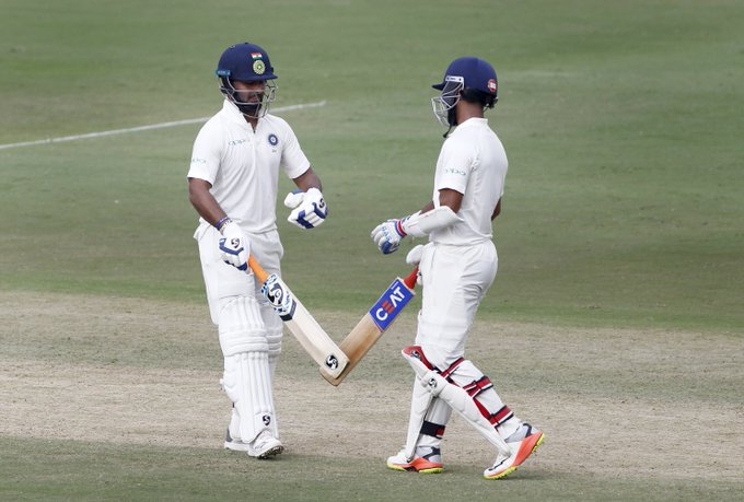 STUMPS! 146-run partnership between the duo and #TeamIndia end Day 2 on 308/4, trail Windies 311 by 3 runs. #INDvWI Photo
