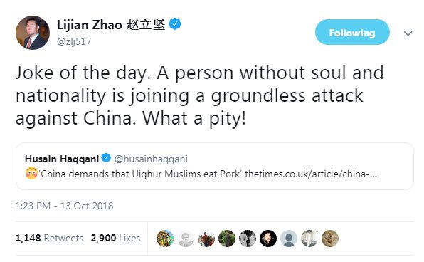 The audacity of Chinese diplomat to attack @husainhaqqani over a tweet -- where only an article was shared -- &amp; call him &quot;a person without a soul&quot; is not just plain boorish but also indicative of how touchy the subject of mass detention of #Uyghurs is becoming for #China.<br>http://pic.twitter.com/C5VtBzSA4E