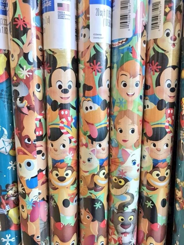 Spotted at Dollar Tree - Holiday wrap with my artwork! #Disney #Holiday #Christmas
