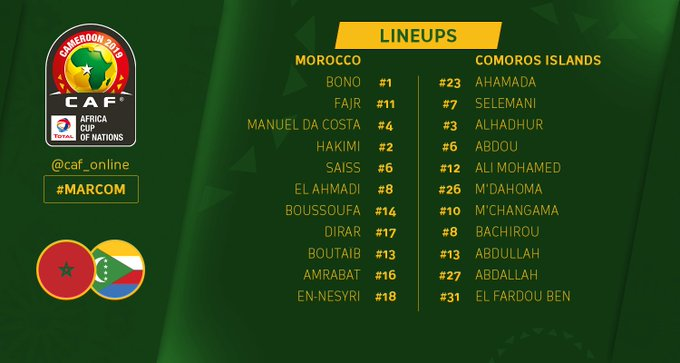 LINE UP | The starting XI for the upcoming match #MARCOM #AFCON2019Q Photo