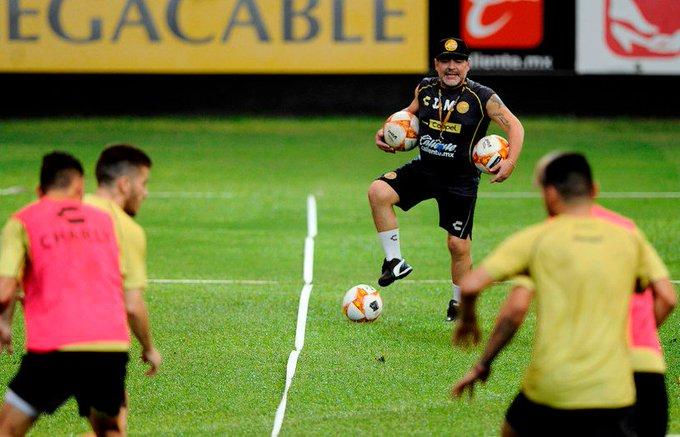 Me está yendo mejor de lo que creía, aseguró #Maradona respecto a su presente en el #Dorados ▶ Foto