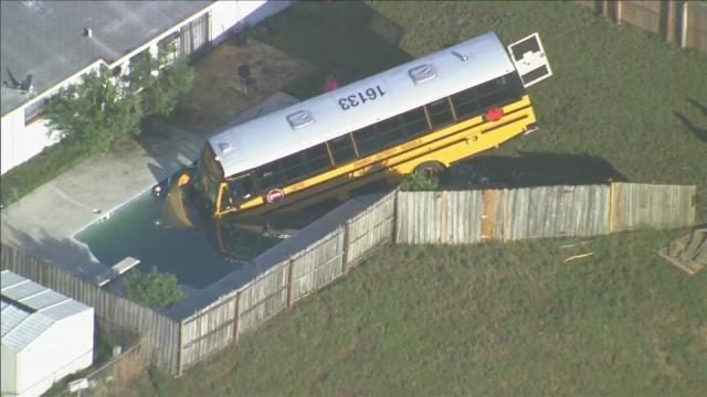 School bus crashes into pool after crash with Jeep, troopers say 2wsb.tv/2P3aT5X