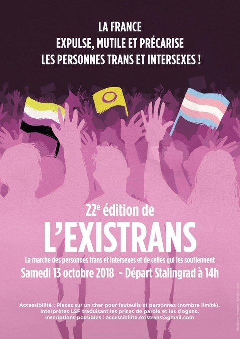 Samedi 13 octobre 2018 : marche @existrans de 14:00 à 18:00, place de la bataille de Stalingrad (Paris 19ème) Lien vers l'event : Photo