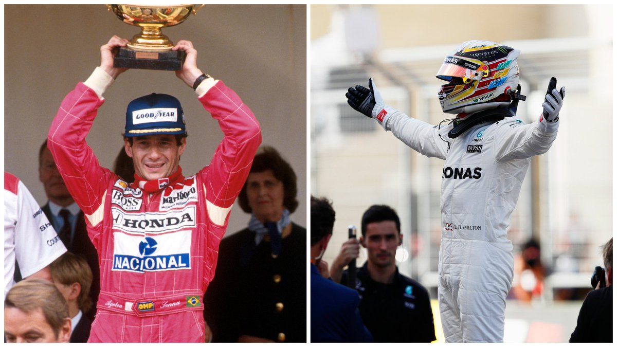 Ayrton Senna is the only #F1 driver to win the same Grand Prix five years in a row 🤩 1989, 1990, 1991, 1992 and 1993 at Monaco 🇲🇨 @LewisHamilton won the #USGP in 2014, 2015, 2016 and 2017 🇺🇸 Next Sunday, he can equal a record that has stood for a quarter of a century 🏆