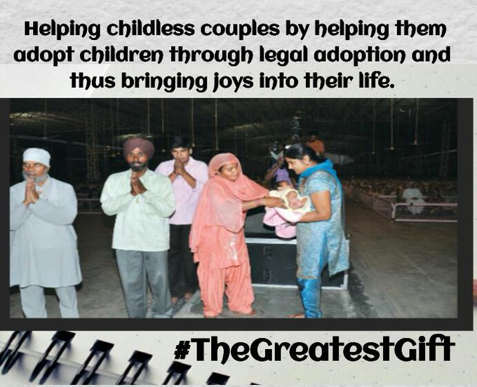 #TheGreatestGift is helping childless couples by helping them adopt children through legal adoption thus bringing joys into their life. Photo