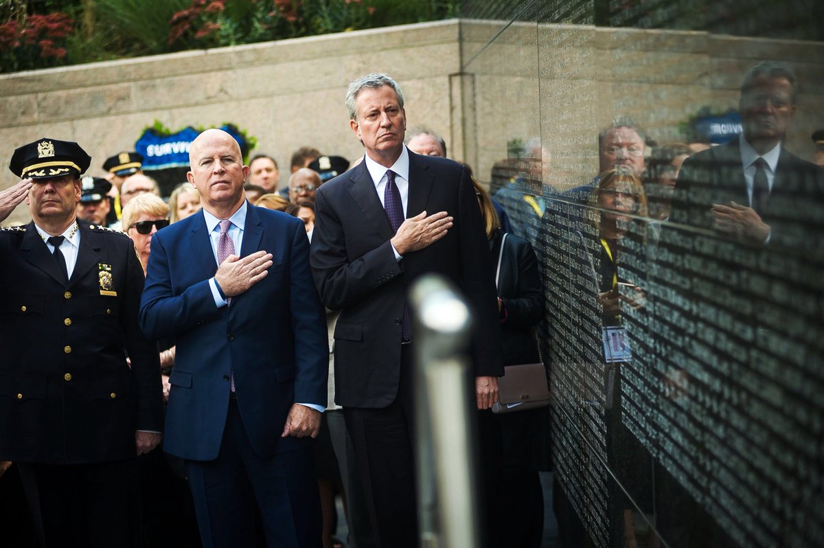 @NYCMayor joined @NYPDONeill and @NYPDChiefofDept for the Battery Park Police Memorial Wall ceremony on Friday.