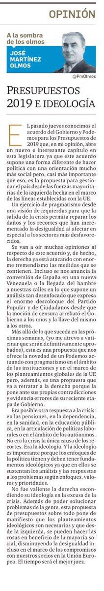 """""""Presupuestos 2019 e ideología"""", artículo de @PmOlmos granadahoy.com/_4cef9b20 vía @granadahoy"""
