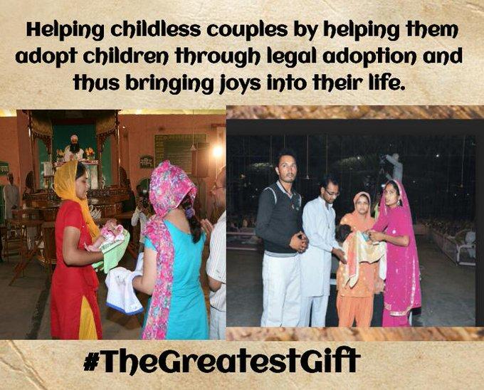 @Gurmeetramrahim #TheGreatestGift Helping Childless couple by helping them adopt children through legal adoption thus bringing joys their life . Photo