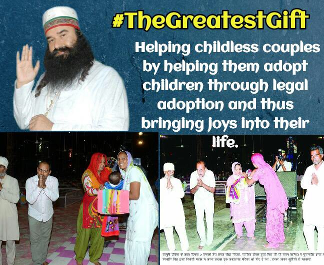 #TheGreatestGift of a couple is having a child. If they are unable to make their own, then @derasachasauda is helping them arranging legal adoption services for them. Inspirations from Saint @Gurmeetramrahim ji Photo