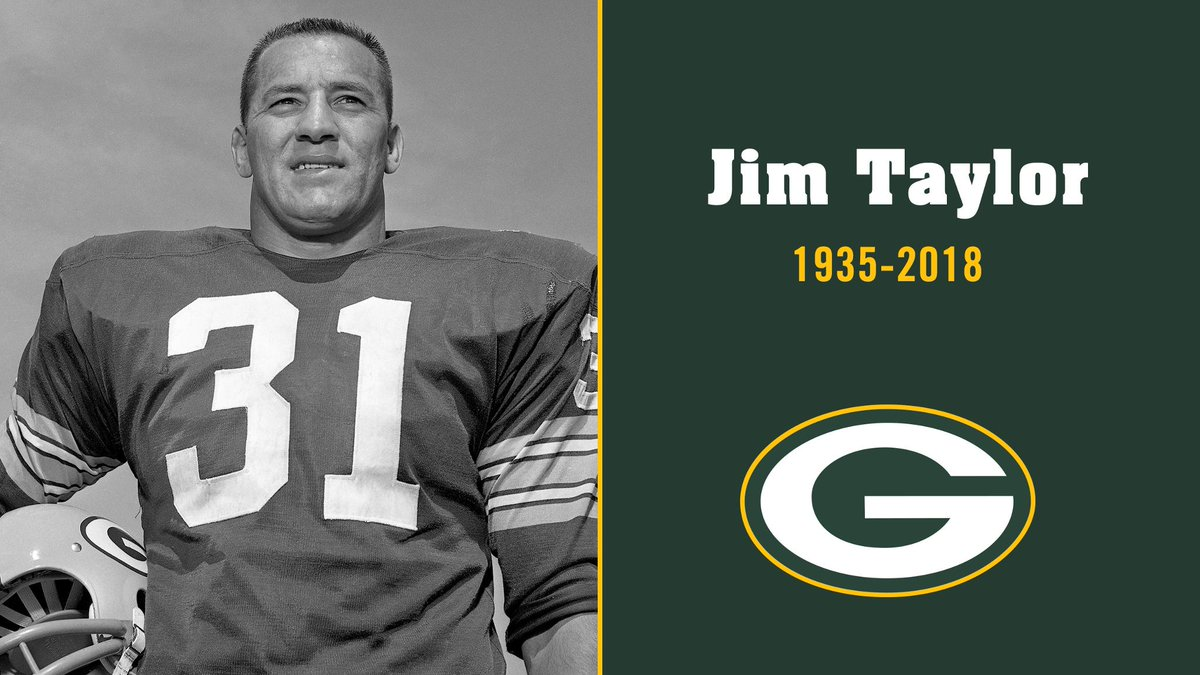 Former #Packers fullback &amp; Pro Football Hall of Famer Jim Taylor has passed away at age 83:  http:// pckrs.com/3qjvs  &nbsp;  <br>http://pic.twitter.com/0RzAhYHBxu