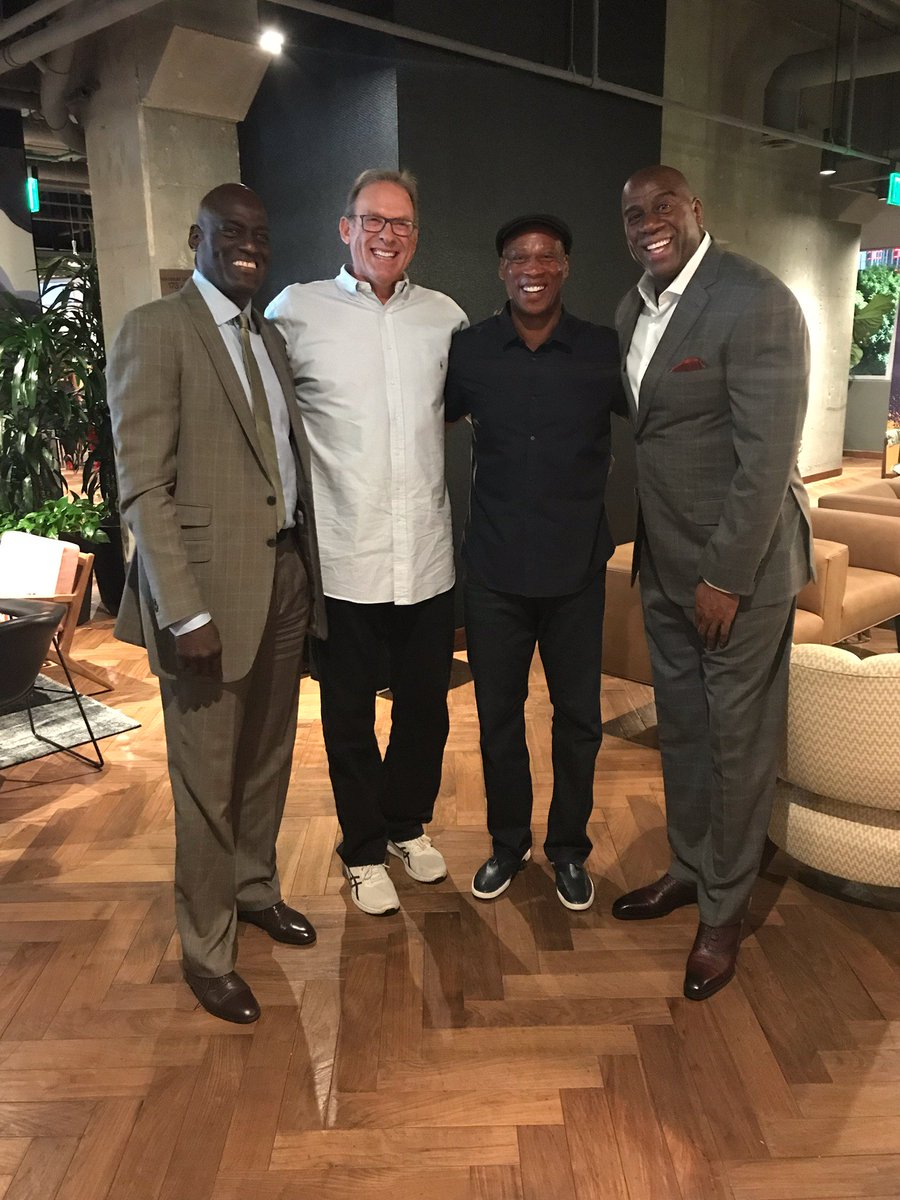 Hanging out with my old teammates Michael Cooper, Kurt Rambis and Byron Scott!