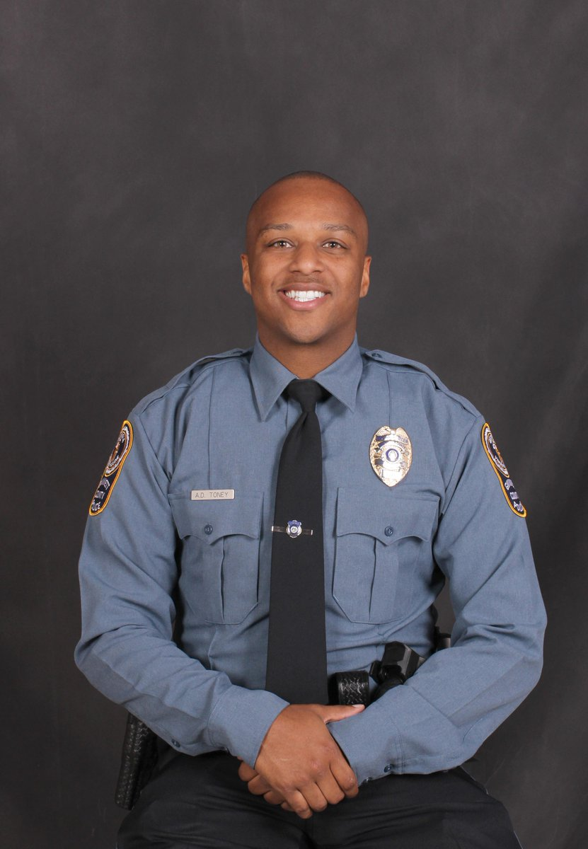 #BREAKING @GwinnettPd share this photo of Officer Antwan Toney. He was shot and killed in the line of duty today while investigating a suspicious vehicle near Shiloh Middle School. Police, K9 & SWAT are searching for four suspects who escaped the scene. #fox5atl