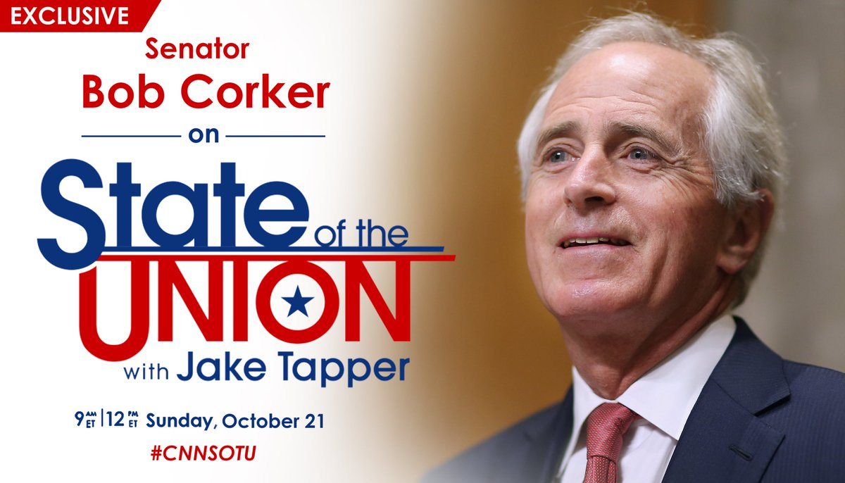 EXCLUSIVE: @BobCorker joins @jaketapper this Sunday on #CNNSOTU