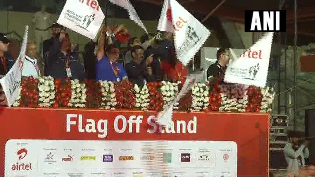 Delhi Half Marathon flagged-off at Jawaharlal Nehru Stadium.