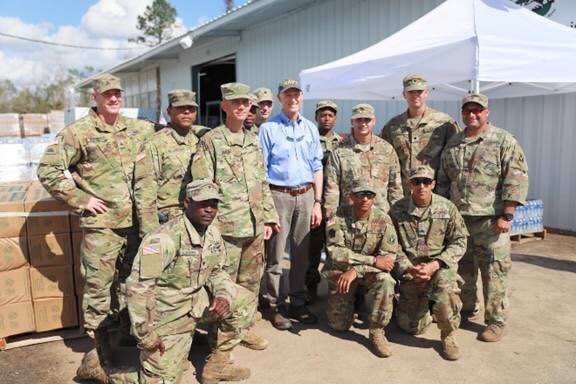 We have 25 points of distribution for food and water open across the Panhandle. Today, I stopped in Marianna to thank @FLGuard and volunteers.