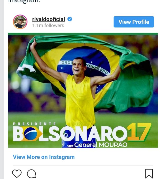 Really disappointed in Rivaldo. If Bolsenaro was in power when he was a teenager, he may have never made it to the world cup. One of the death squads may have shot him. Photo