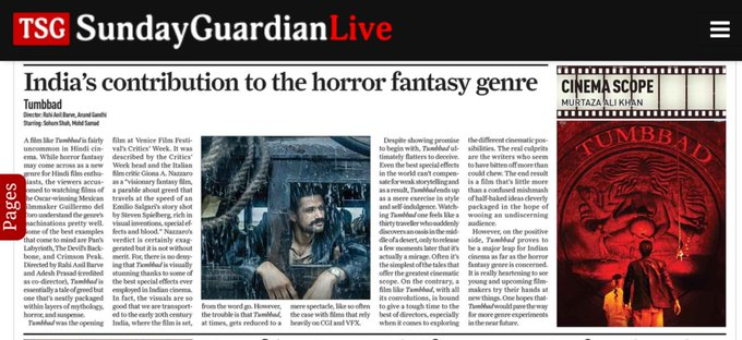 Despite its shortcomings, #Tumbbad proves to be a major leap for Indian cinema as far as the horror fantasy genre is concerned. One hopes it would pave the way for more genre read my full review in #TheSundayGuardian! Photo