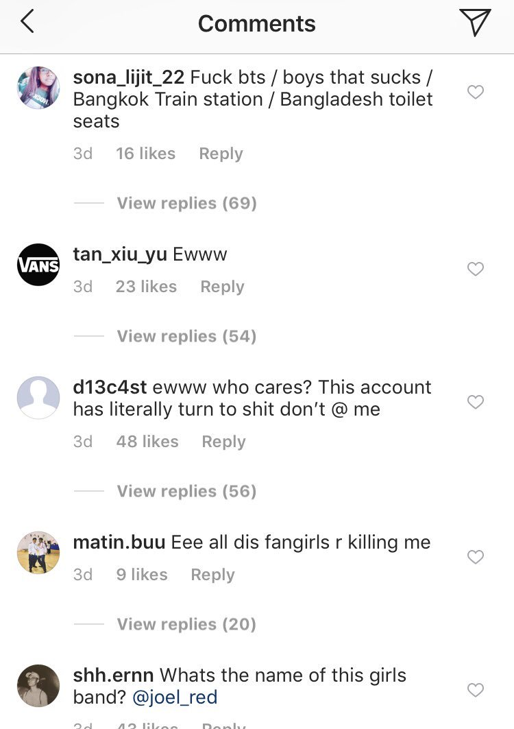 SGgag posted a picture of BTS concert on their page and the comments are just..... feel sorry for them tho. Cause they don't know what happiness feels like as they are unloveable ¯\_(ツ)_/¯ #LOVE_YOURSELFpic.twitter.com/m9STt3tR1v