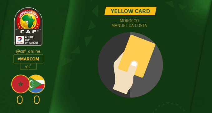 BOOKING | Manuel da Costa from Morocco receives a yellow card #AFCON2019Q #MARCOM Photo