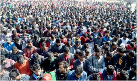 : A militant was on Saturday killed and another one injured during a gunfight with the government forces in south Kashmir's Pulwama district, police said. Meanwhile thousands of people attended the funeral prayers of the slain militant late in the day ... Photo