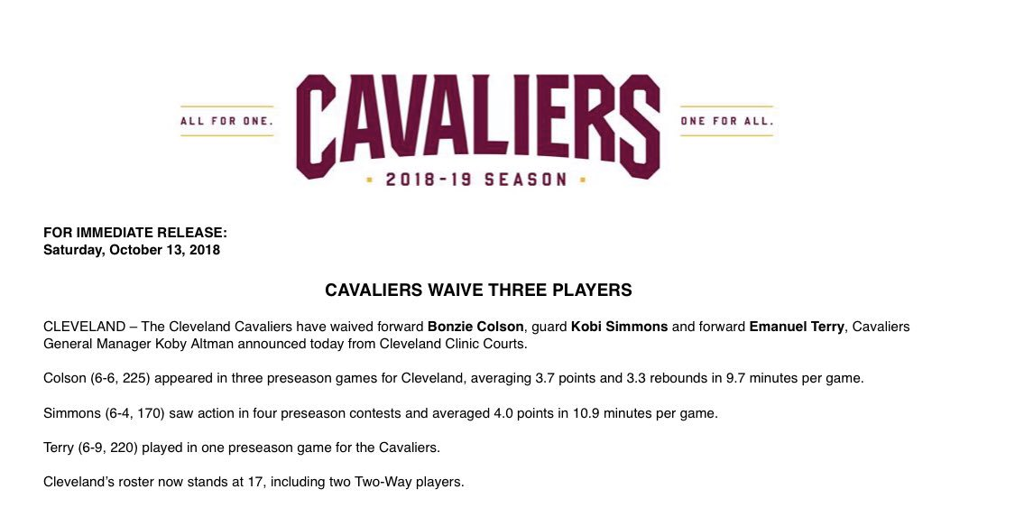 #Cavs announce they have waived 3 players:  SF Bonzie Colson SG Kobi Simmons SF Emanuel Terry  Today's moves trim Cleveland's roster to 17 players, with the regular season opener four days away at #Raptors 10/17.  #FOX8<br>http://pic.twitter.com/TUaKy2giOm