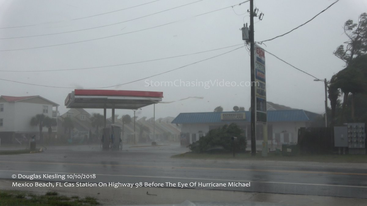 Still pouring through all the video and images from #HurricaneMichael in #MexicoBeach #MexicoBeachFl  #FLWX  Here is a before and after of the location of the gas station on Hwy 98 that I was filming.  If I stayed there I would have died.<br>http://pic.twitter.com/9sVE0qnSv4