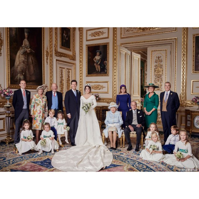 Princess Eugenie of York and Jack Brooksbank are delighted to release four official photographs from their Wedding day. The images were taken by photographer Alex Bramall at Windsor Castle andlater in the day at Royal Lodge. #RoyalWedding Photo