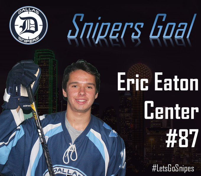 GOAL DALLAS!! Live stream still having issues after the power outage, but Eaton scores a shorthanded goal to level the game at 2! 3:57 left in the 1st. #LetsGoSnipes Photo