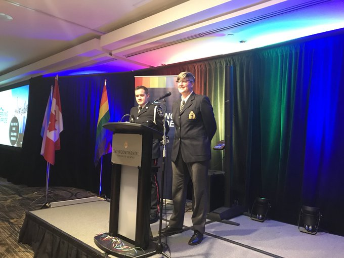 Opening remarks with the @LGBTQ911 co-chairs! @TheJeanTurner #OutOfTheBlue #servingwithpride Photo