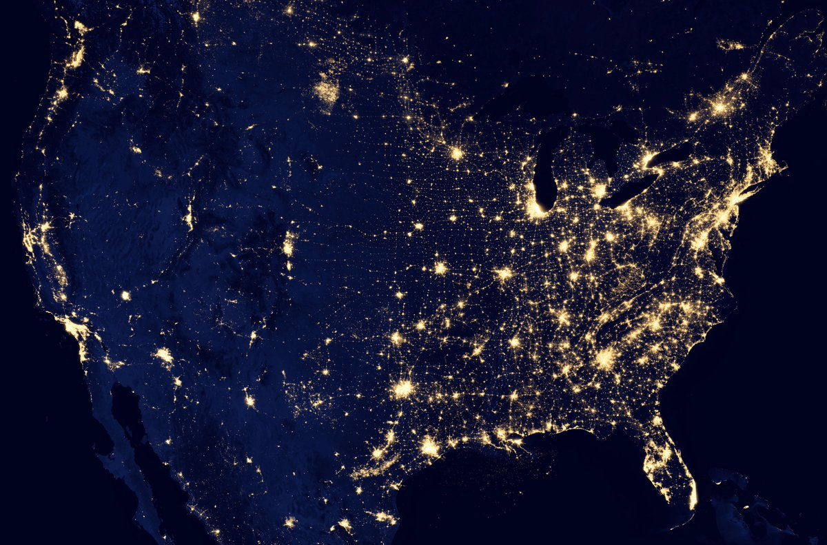 The United States at night from space, 2012:                 #NASA